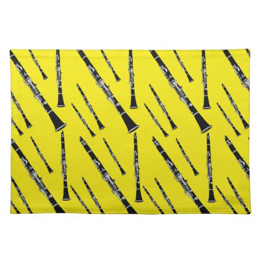 Yellow Clarinet Pattern Cloth Placemat