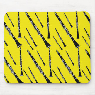 Yellow Clarinet Pattern Mouse Pad