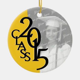 Yellow Class 2015 Graduation Photo Double-Sided Ceramic Round Christmas Ornament