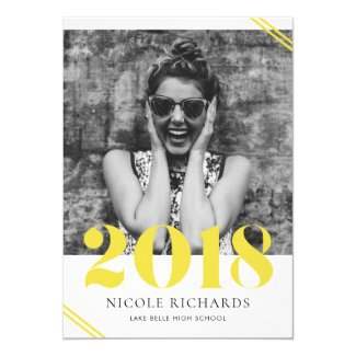 Yellow Class of 2018 Photo Graduation Invitation