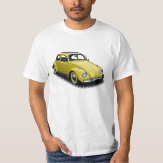 Yellow Classic Bug on White T-Shirt
