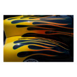 Yellow Classic Car Flames Poster