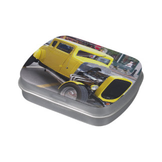 Yellow Classic Car Jelly Belly Candy Tins