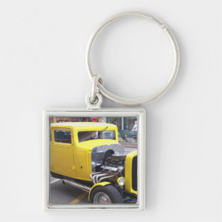 Yellow Classic Car Silver-Colored Square Keychain