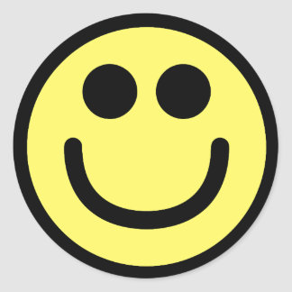 Yellow Classic Smiley Face Classic Round Sticker