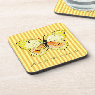 Yellow Cleopatra Butterfly with Stripes Beverage Coasters