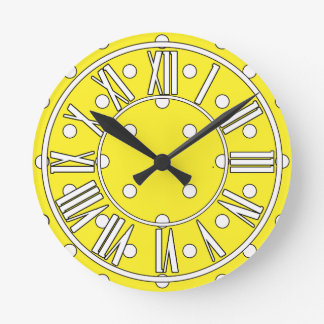 Yellow Clock with White Dots and Roman Numerals