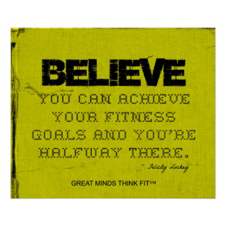 Yellow Cloth Black Thread Fitness Believe Poster