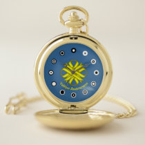 Yellow Clover Ribbon (Bf) by K Yoncich Pocket Watch