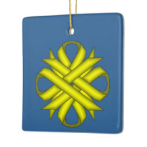 Yellow Clover Ribbon by Kenneth Yoncich Ceramic Ornament