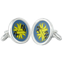 Yellow Clover Ribbon by Kenneth Yoncich Cufflinks