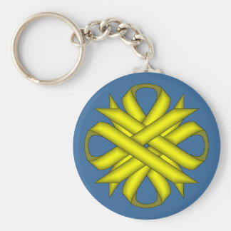 Yellow Clover Ribbon by Kenneth Yoncich Keychain