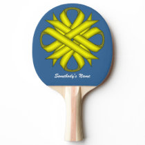 Yellow Clover Ribbon by Kenneth Yoncich Ping-Pong Paddle
