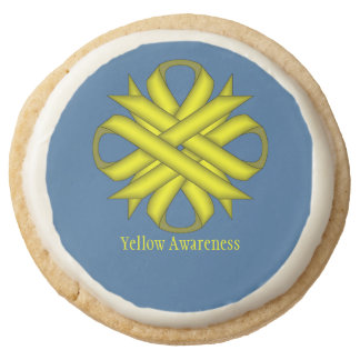 Yellow Clover Ribbon by Kenneth Yoncich Round Shortbread Cookie