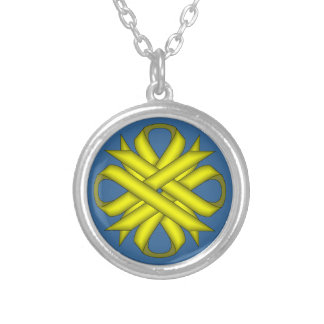 Yellow Clover Ribbon by Kenneth Yoncich Silver Plated Necklace