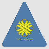 Yellow Clover Ribbon by Kenneth Yoncich Triangle Sticker
