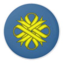 Yellow Clover Ribbon Ceramic Knob