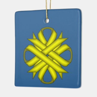 Yellow Clover Ribbon Ceramic Ornament