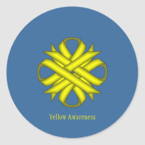 Yellow Clover Ribbon Classic Round Sticker