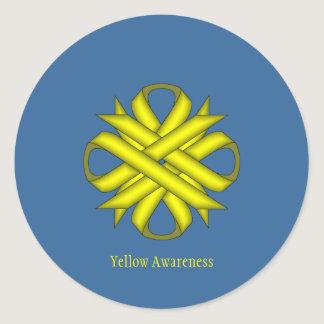Yellow Clover Ribbon Classic Round Sticker