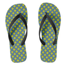 Yellow Clover Ribbon Flip Flops