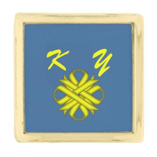 Yellow Clover Ribbon Gold Finish Lapel Pin