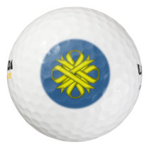Yellow Clover Ribbon Golf Balls