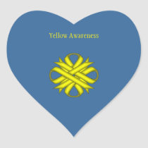 Yellow Clover Ribbon Heart Sticker