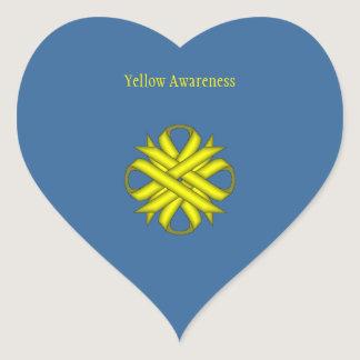 Yellow Clover Ribbon Heart Sticker