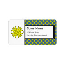 Yellow Clover Ribbon Label
