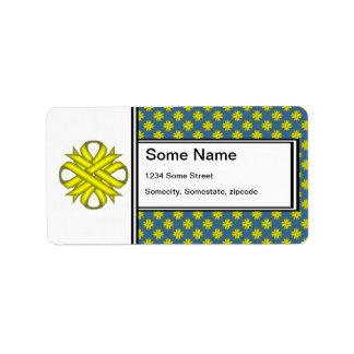Yellow Clover Ribbon Label