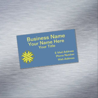 Yellow Clover Ribbon Magnetic Business Card