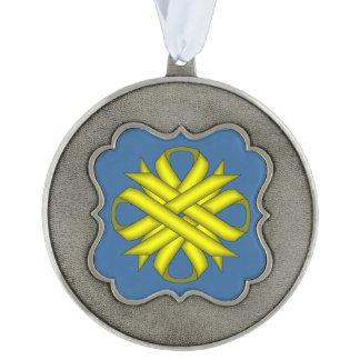 Yellow Clover Ribbon Ornament