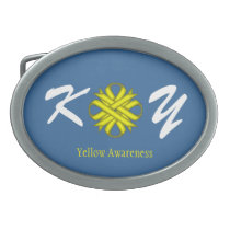 Yellow Clover Ribbon Oval Belt Buckle
