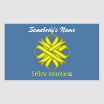 Yellow Clover Ribbon Rectangular Sticker