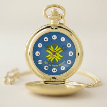 Yellow Clover Ribbon (Rf) by K Yoncich Pocket Watch
