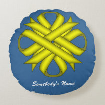 Yellow Clover Ribbon Round Pillow