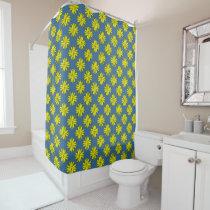 Yellow Clover Ribbon Shower Curtain