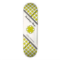 Yellow Clover Ribbon Skateboard Deck