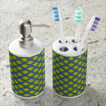 Yellow Clover Ribbon Soap Dispenser And Toothbrush Holder