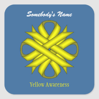 Yellow Clover Ribbon Square Sticker