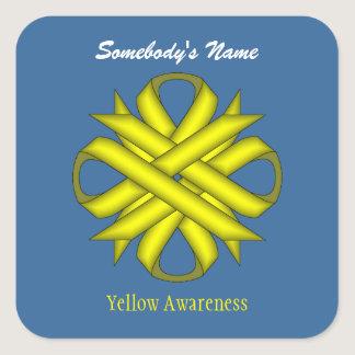 Yellow Clover Ribbon Square Sticker