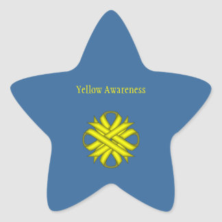 Yellow Clover Ribbon Star Sticker