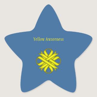 Yellow Clover Ribbon Star Sticker