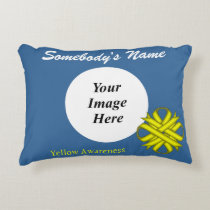 Yellow Clover Ribbon Template Accent Pillow