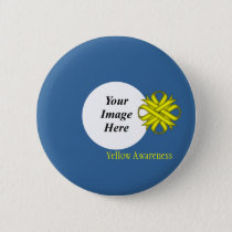 Yellow Clover Ribbon Template by Kenneth Yoncich Pinback Button