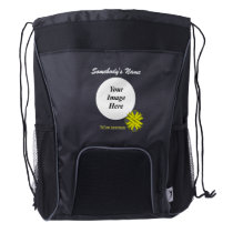 Yellow Clover Ribbon Template Drawstring Backpack