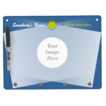 Yellow Clover Ribbon Template Dry Erase Board With Keychain Holder