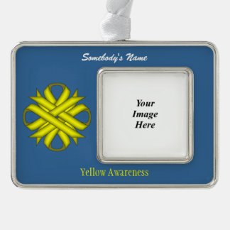 Yellow Clover Ribbon Template (H-O) Christmas Ornament