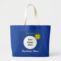 Yellow Clover Ribbon Template Large Tote Bag
